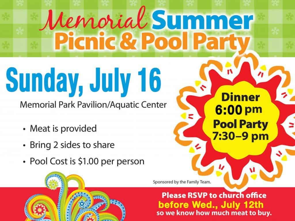 Memorial Summer Picnic and Pool Party